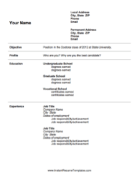 Graduate school admissions resume template for Sample resume for master degree application