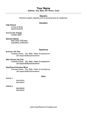 Basic Student Resume Samples  Resume Sample For High School Student