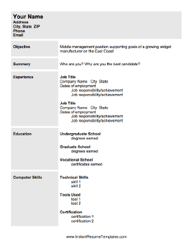 resume when seeking a position in management use this printable resume ...