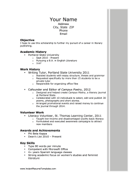 Resume for a scholarship