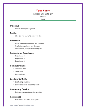 basic academic resume - Basic Resume Template