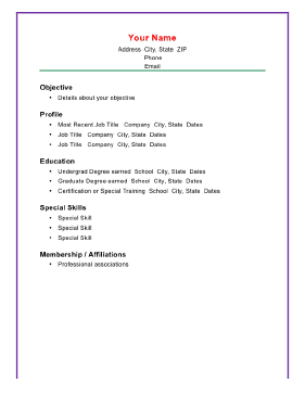 basic chronological resume a4 template
