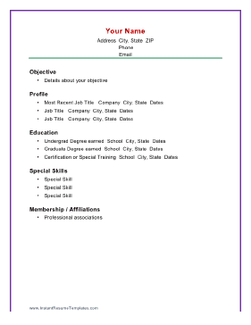 Basic Chronological Resume