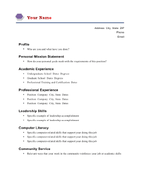 Mission statement resume examples