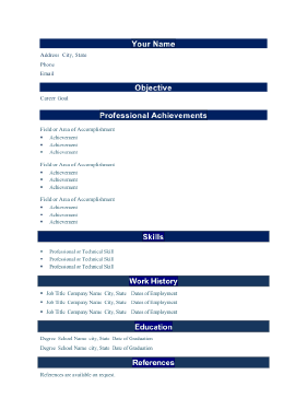 field or area of achievement in a resume ideas